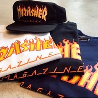 One-nice™ Thrasher Magazine Flame Personality T-shirt print short sleeve top