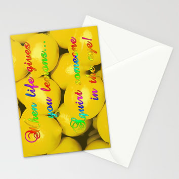 When life gives you lemons... squirt someone in the eye! Naughty behavior, funny quote, citrus fruit Stationery Cards by Peter Reiss