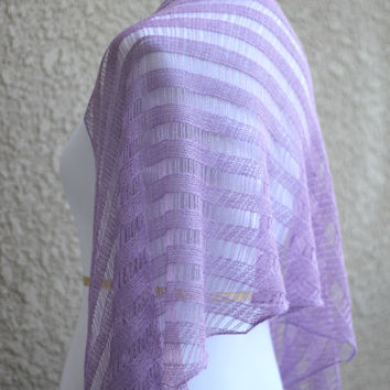 Knit shawl, wedding shawl, bridal stole in lilac color, gift for her (25 colors available)