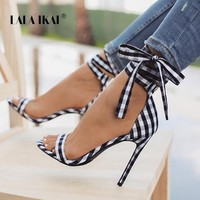 LALA IKAI Scottish Plaid High Sandals Women Cross-Tied Heels Ladies Ankle Strap Lace Up Bow High Shoes