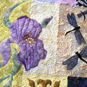 Quilted wall art - Appliqued Iris, Butterfly and dragonflies,  Oh My