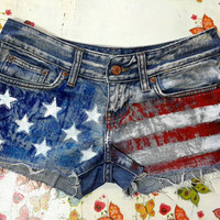 AMERiCAN FLAG SHORTS Denim Shorts High Waisted Shorts Levis Shorts US Shorts Coachella Denim Shorts Patriotic Shorts American Flag Size 27