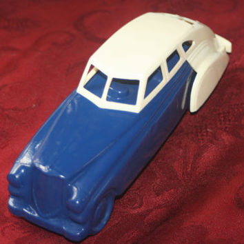 Vintage Avon,  Blue and White Car Decanter, Vintage Wild Country Aftershave Full Bottle