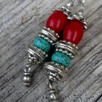 Ornate, Coral, Turquoise, Silver, Dangle Earrings, Boho, Tribal, Gypsy