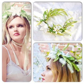 festival crown, woodland pixie fae crown head piece, hair accessories, true rebel clothing