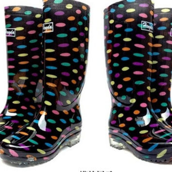 New 2014 Fashion Women's Rain Boots Leopard/Dots/Flower Design High Style Women Water Shoes Rain Boot = 1945716996