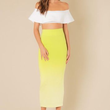 Long Maxi Ombre Lime Skirt