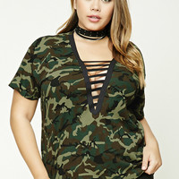 Plus Size Camo Strappy Tee