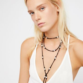 Free People Freshwater Pearl Suede Wrap Necklace