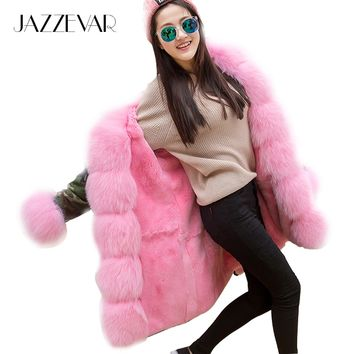 JAZZEVAR Women's Army Green Luxury Large Fox Fur Collar Cuff Hooded Coat Parkas Outwear Camouflage long Winter Jacket coat