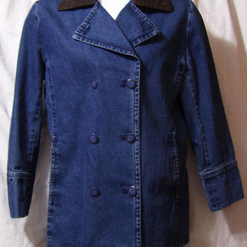 Denim Coat, Jacket, 3/4 Length, Double Breasted, Faux Suede Collar, Size L Large, Fall Winter Back to School