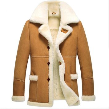 Leather Jacket Menfolk Jaqueta De Couro Masculino Fur Coat Men Shearling Jacket