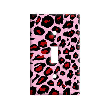 Leopard Animal Print Pink Light Switch Plate Cover