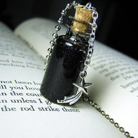 Night Sky Glass Bottle Necklace - Space Stars Cork Vial Pendant - Galaxy Charm