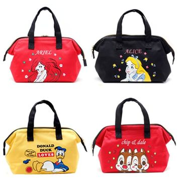 Alice Little Mermaid Chip Dale Donald Duck Totoro Insulated Lunch Tote Bag for Kids Women Thermal Cooler Bag Picnic Food Bags