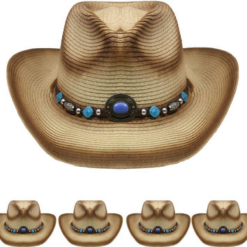 brown straw cowboy hat with beaded band Case of 72