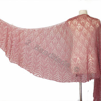 Lace Knit Triangular Rose Pink Shawl Wrap Mohair Wool Fall Boho Handmade Wedding Scarf Fashion Woman Lady Collar Casual Infinite Extra Long