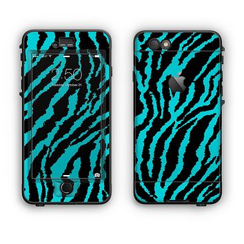 The Vector Teal Zebra Print Apple iPhone 6 Plus LifeProof Nuud Case Skin Set