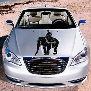 Car Hood Vinyl Decal Graphics Stickers Art Mural Indian King on Elephant KJ586