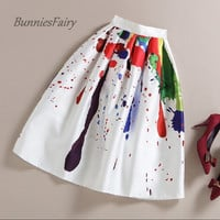 BunniesFairy Brand 2016 Spring Summer New Ladies Elegant Fashion Graffiti Print High Waist White Long Midi Skirt Holiday Wear