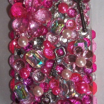 Black Friday Etsy Custom Iphone 4/4s Pink and More Pink Rhinestone & Key  Bling Cell Phone Case  FREE SHIPPING