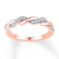 Diamond Ring 1/10 ct tw Round-cut 10K Rose Gold