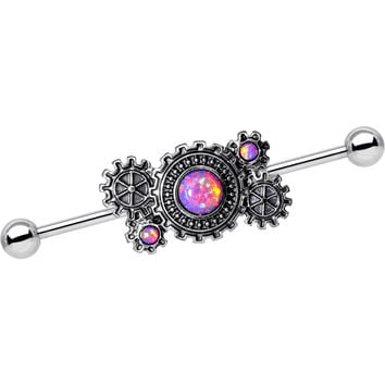 Pink Synthetic Opal Steel Get in Gear Industrial Barbell 38mm