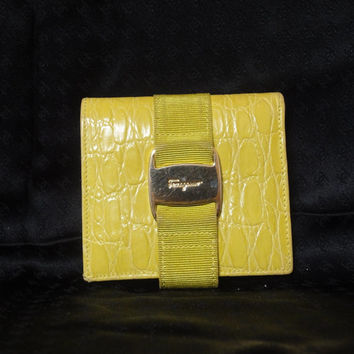 Vintage Salvatore Ferragamo croc embossed leather yellow wallet with gold tone vara motif. Happy and good fortune color.