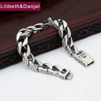 Loom Bands 100% Real 925 Sterling Silver Simple Men Friendship Charm Bracelet Bangle Handmade Thailand Silver Jewelry B1