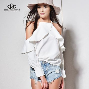 Bella Philosophy 2017 new spring summer halter neck cami cold off shoulder ruffles long-sleeved women chiffon blouse shirt