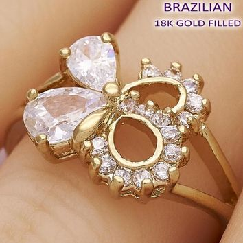 Gold Layered Women Bow Multi Stone Ring, with White Cubic Zirconia, by Folks Jewelry