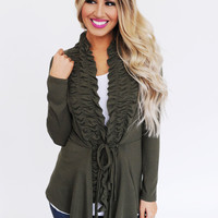 Ruched Front Tie Cardi- Olive