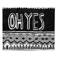 "Vasare Nar ""Oh Yes"" Black White Fleece Throw Blanket"