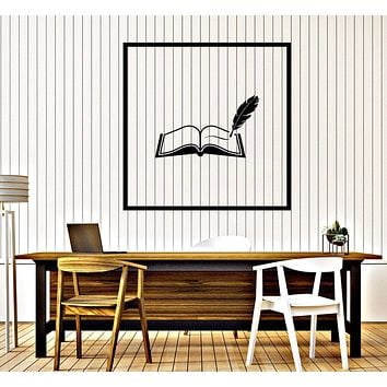Wall Vinyl Decal Book and Pen Reading Room Library Decor Unique Gift z4643