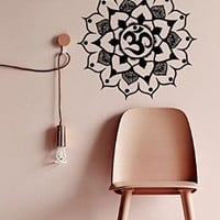 Wall Decor Vinyl Decal Lotus Sticker Home Interior Design Floral Indian Amulet Mandala Flower Om Sign Living Room Kids Room Decor Kg703