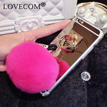 For iPhone 4S 5S 6 6S 7 Plus Cover For Samsung Galaxy S4 S5 S6 S7 Edge Plus Mirror Rabbit Fur Ball Pendant Soft TPU  Phone Case