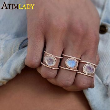 2018 New ellipse Big cz Rings For Women silver Colo White Stine ring Femme Fashion Jewellery double two ring Stacking Drop Ring