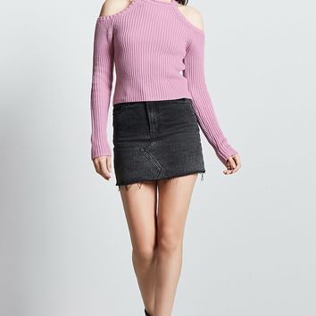 Ribbed Open-Shoulder Sweater
