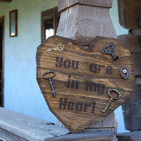 Wood heart decoration-Rustic Wood heart-Country style decoration-Wall hanging-Wedding decor-home decor-Love-wood sign-shabby chic-hearts