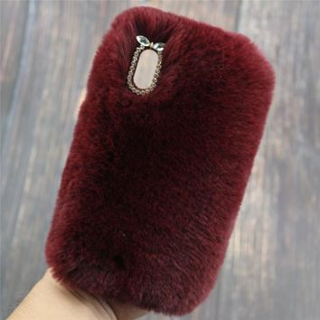Warm Rabbit Fur Furry Plush Case For iPhone XS Max XR 7 8 Plus Case Luxury Rhinestone Diamond Case For iPhone X S XR Cover Shell