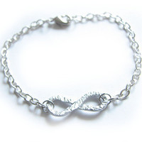 Silver Infinity Anklet Bracelet Wire Wrapped Knot Silver Plated Chain Hammered Jewelry wear two side