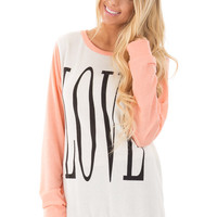 Peach and Ivory LOVE Sweater