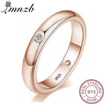 LMNZB Never Fade 4 MM Thin 925 Sterling Silver Three Color Couple Ring Simple Fashion Gold Finger Ring For Women Jewelry LR94603