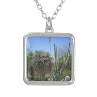 Cactus Garden Square Pendant Necklace