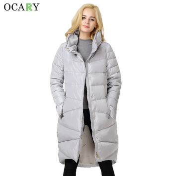 OCARY Autumn Winter Warm Duck Down Fashion Thicken Long Women Parkas Casaco Feminino 2016 Body Jacket & Coat for Lady Plus Size