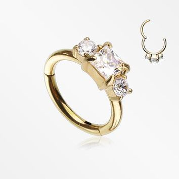 Golden Prong Set Princess Cut Sparkle Gem Segment Clicker Ring