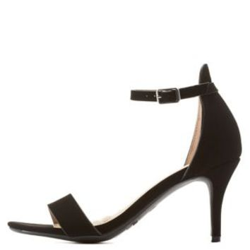 Black Single Sole Ankle Strap Heels by Charlotte Russe