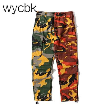 wycbk Patchwork Camouflage Cargo Pants Men 2017 New Fashion Loose Style Men's Pants Multy Camo Pants