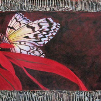 Butterfly on poinsettia- Highly textured large acrylic painting