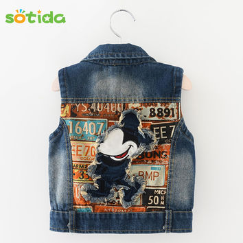 New 2016 Baby Girls Clothes Cowboy Vest Children Clothing Outerwear&Coats Kids Clothes Cartoon Patch Embroidered Design Jackets